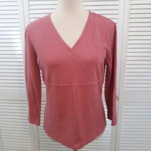 J. Jill textured vneck blouse top sz small